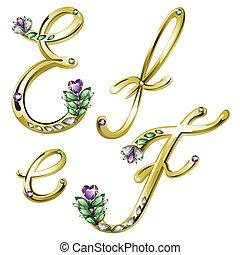 alphabet, or, e, bijouterie, lettres