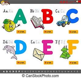 alphabet, pédagogique, lettres, dessin animé