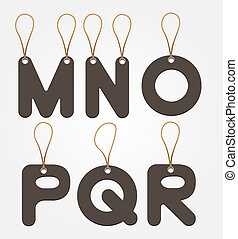 alphabet paper price tag style vector