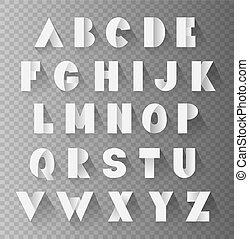 alphabet paper set with shadows