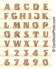 alphabet., papier, brieven, getallen