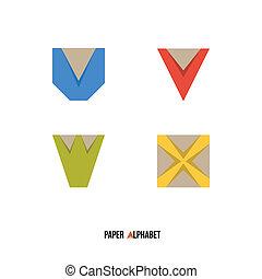 alphabet, -, papier, u, w, v, x