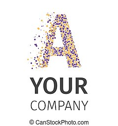 Letter A logo. Alphabet particles logotype vector design. Excellent vector illustration, EPS 10