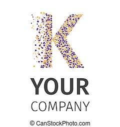 Alphabet particles logotype, Letter-K - Letter K logo....
