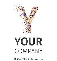 Letter Y logo. Alphabet particles logotype vector design. Excellent vector illustration, EPS 10