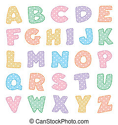 Alphabet, Pastels with Polka Dots