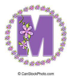 The letter M, in the alphabet set Petite Ring of Petals, is soft lilac and surrounded by a circle of daisies. Climbing vines and flowers cling to lilac letter on a white background.
