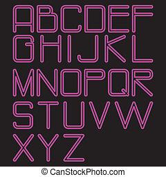 alphabet pink neon