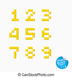 alphabet, pixel, block