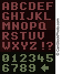 alphabet, police, affichage diodes électroluminescentes