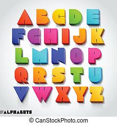 alphabet, police, style., coloré, 3d
