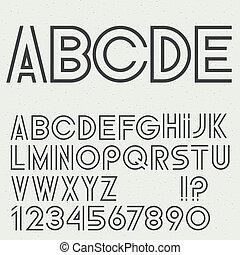 alphabet, ponctuation, lettres, vecteur, nombres, marques
