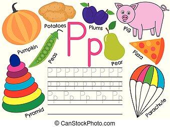 alphabet., praktijk, schrijvende brief, engelse , children., pictures., opleiding, p.