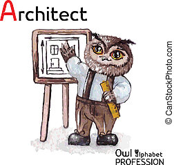 Alphabet professions Owl Architect character on a white...