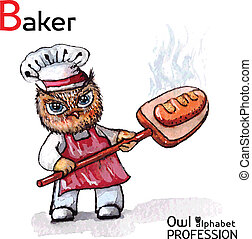 Alphabet professions Owl Baker character on a white background Vector Watercolor.