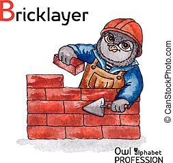 Alphabet professions Owl Letter B - Bricklayer Vector Watercolor.