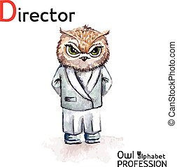 Alphabet professions Owl Letter D - Director character Vector Watercolor.