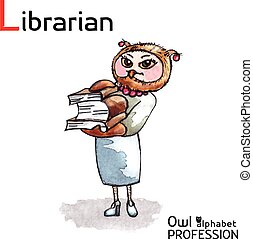 Alphabet professions Owl Letter L - Librarian character...