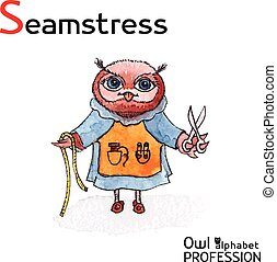 Alphabet professions Owl Letter S - Seamstress character Vector Watercolor.
