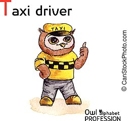 Alphabet professions Owl Letter T - Taxi driver character...