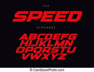 alphabet., promo, letras, velocidade, design., estilo, ...