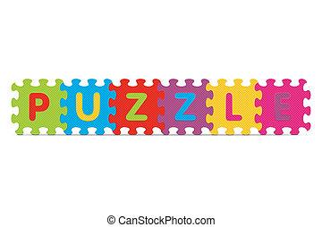 alphabet, puzzle, écrit