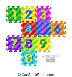 alphabet, puzzle, nombres