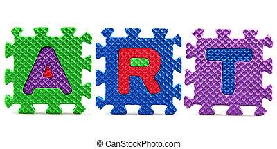 Alphabet puzzle pieces on white background - Art