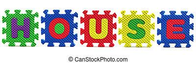 Alphabet puzzle pieces on white background - House