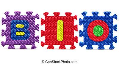 Alphabet puzzle pieces on white background