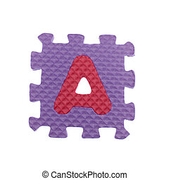 """Alphabet puzzle pieces on white background. The letter """"A"""" is a set of alphabet made in the form of a puzzle, isolated on white background."""