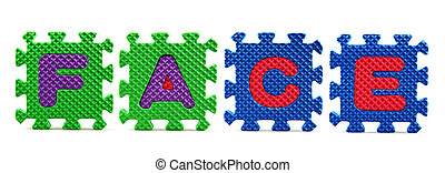 Alphabet puzzle pieces on white background - Face