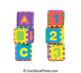 alphabet puzzle shape as blocks on white background
