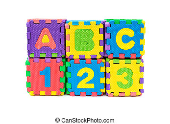 alphabet puzzle shape as blocks stack up on white background