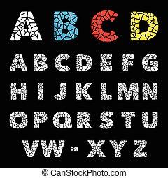alphabet, puzzle, vecteur, conception, set., mosaïque