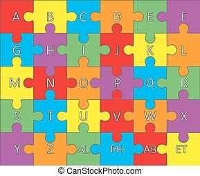 alphabet, puzzle., vector.