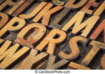 alphabet, résumé, bois, type