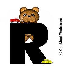alphabet, r, teddy, conduite, voitures