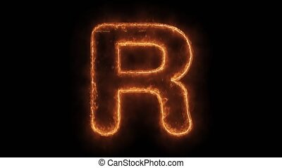 Alphabet R Word Hot Animated Burning Realistic Fire Flame ...