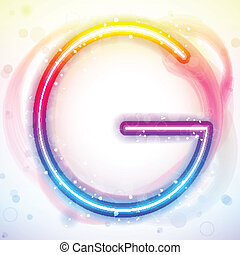Alphabet Rainbow Lights in Circle White Background
