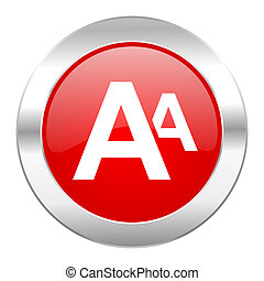 alphabet red circle chrome web icon isolated