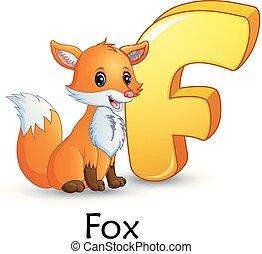 alphabet, renard, dessin animé, lettre f