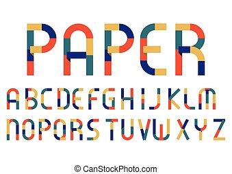 Alphabet Retro Color paper Style