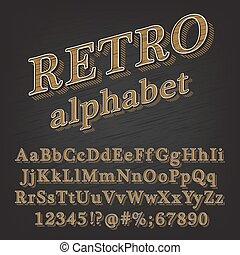 alphabet, retro style