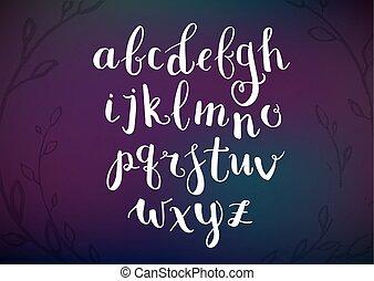 alphabet., rukopis, nahý, napsáný, rukopis, pero, vektor, kartáč, inkoust, literatura