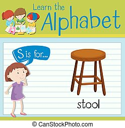 alphabet, s, tabouret, flashcard