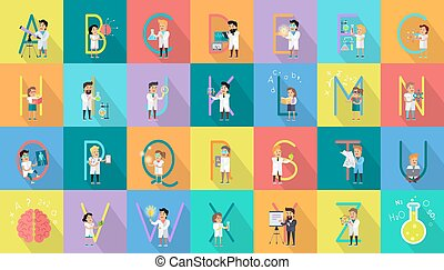 Alphabet Science Vector Flat Design Concept