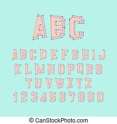 Alphabet set. 3d  illustration. Design elements.
