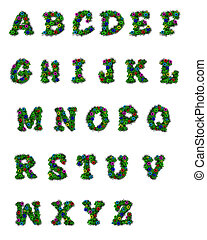 "Alpha Arbor - Alphabet set ""Alpha Arbor,"" is decorated with..."