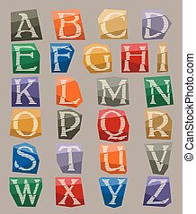 alphabet set cut out on color paper